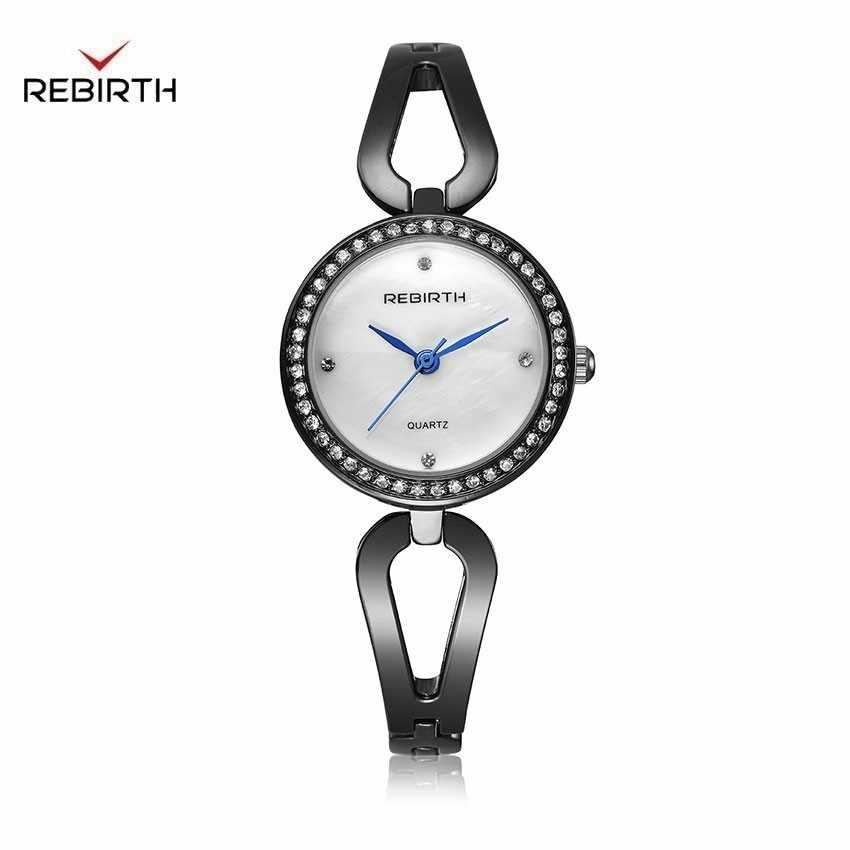 Relojes de pulsera negros creativos a la moda reloj de acero inoxidable de cristal para mujer