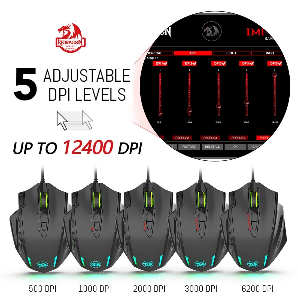 ffddc445d3a Redragon M908 12400 DPI IMPACT Gaming Mouse 19 Programmable Buttons ...