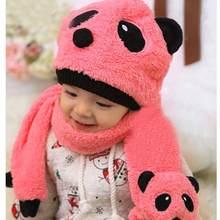 Otoño invierno cálido bebé sombrero lindo de dibujos animados Panda  sombreros + bufanda ganchillo Beanie gorras niño infantil ni. a8c6d8d25e5