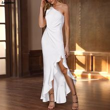 цена на Irregular one shoulder party dress Women 2018 Summer elegant white bodycon dress Twisted ruffles slit hem dresses vestidos mujer
