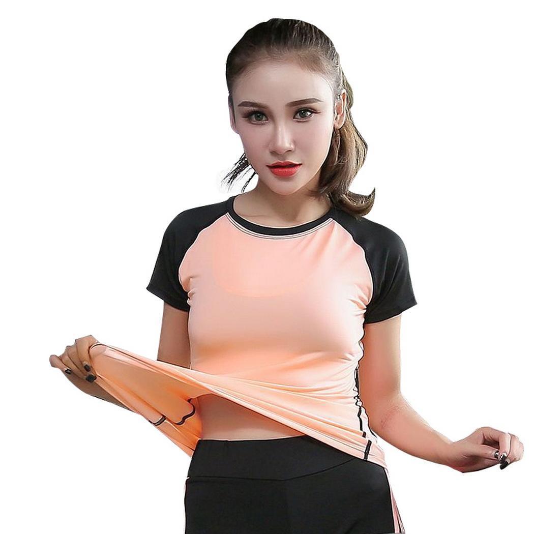 T-Shirt Pullover Patchwork Loose Running Women Short-Sleeve Summer Casual Regular O-Neck