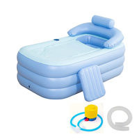 160*84*64 ซม. สีฟ้าขนาดใหญ่ Inflatable Bath อ่างอาบน้ำสปา PVC พับแบบพกพาสำหรับผู้ใหญ่ Air ปั๊มครัว