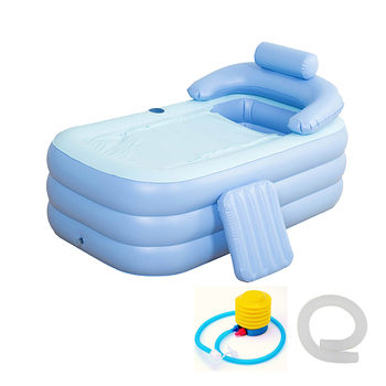 160 *84* 64cm Blue Large Size Inflatable Bath Bathtub SPA PVC Folding Portable For Adults With Air Pump Household Inflatable Tub