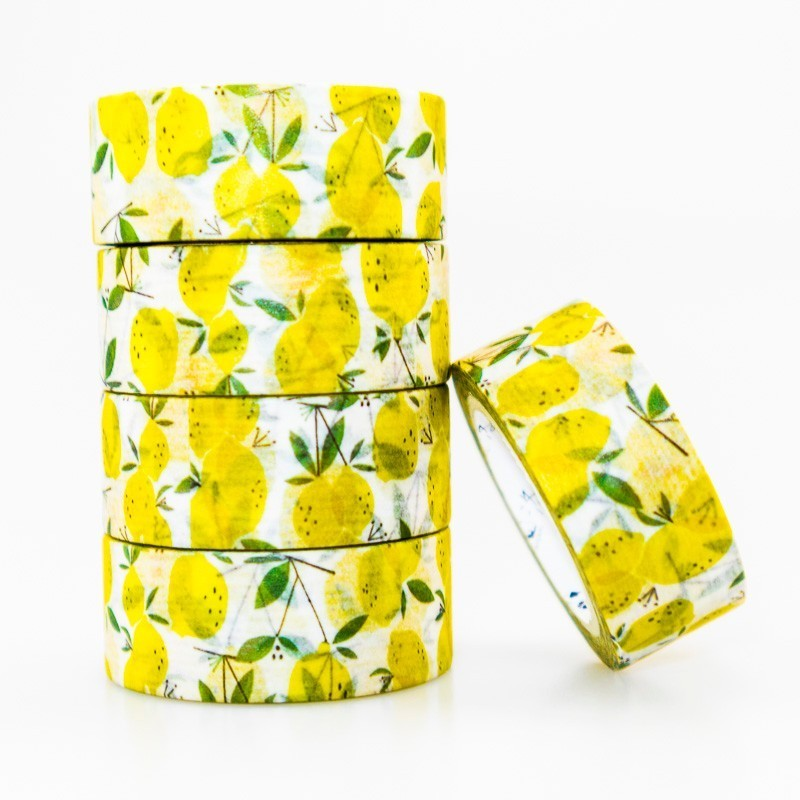 Lemon Fruit Pattern Washi Masking Tape Sticky Color Decorative Tape Set DIY Decoration Office Stationery Scrapbook 1PCS