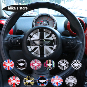 Image 3 - Para mini cooper r55 r56 r57 r58 r59 r60 r61 clubman countryman volante centro 3d dedicado adesivo do carro decalque capa 2 pçs