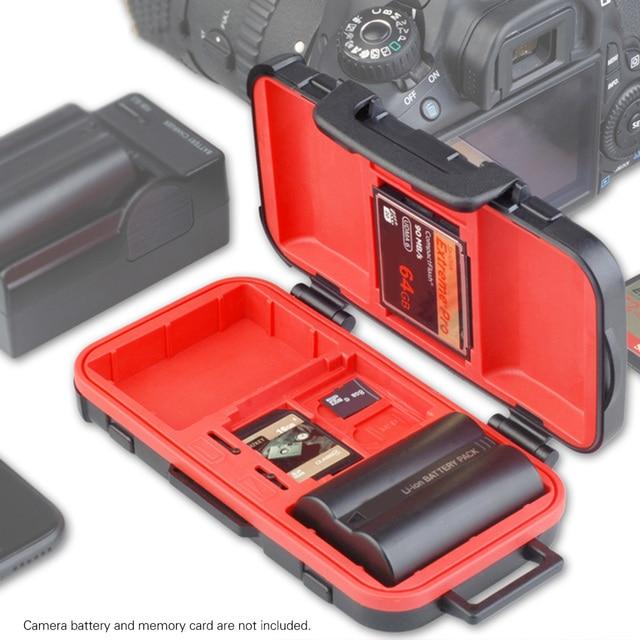 LENSGO D850 مقاوم للماء غلاف بطاقة ذاكرة حافظة بطاريات صندوق لمدة 2 بطاريات الكاميرا 4 بطاقات SD 8 TF بطاقات 2 CF/XQD بطاقات