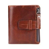 Vintage Male Short Wallets Soft Cowhide Top Quality Men Coin Purse Mini Hand Take Zipper Wallet PR069093 2