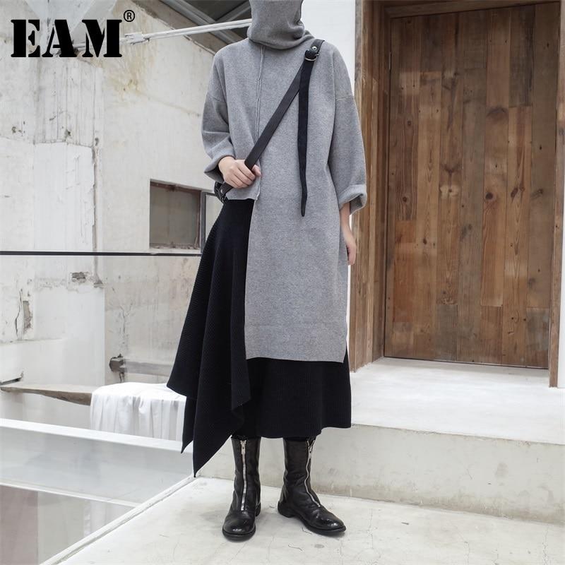 [EAM] 2020 New Spring Autumn High Collar Long Sleeve Black Irregular Stitch Big Size Long Knitting Sweater Women Fashion JL734