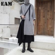 [Eam] 2020春の新作秋高襟長袖黒不規則なステッチビッグサイズセータートップス女性ファッションJL734