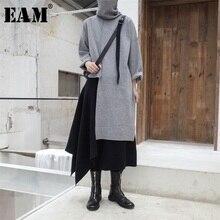 [Eam] 2020 nova primavera outono gola alta manga longa preto ponto irregular tamanho grande longo tricô camisola feminina moda jl734