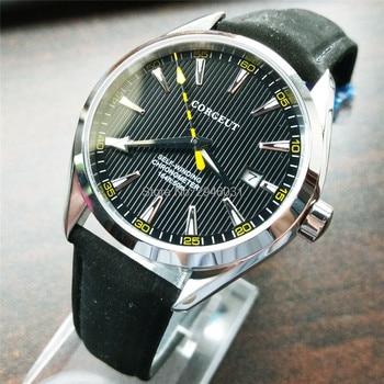 Corgeut Black Sapphire crystal Automatic Movement mens date Watch 2751