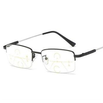 4df1bfd6c9 Gafas multifocales de titanio para hombre, gafas de lectura de transición,  medio marco para hombre, gafas de prescripción de visión lejana