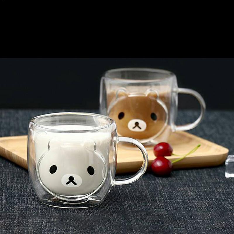 Dupla forma de urso canecas de café com o punho canecas de isolamento bebendo parede dupla copo de chá de vidro presente criativo drinkware