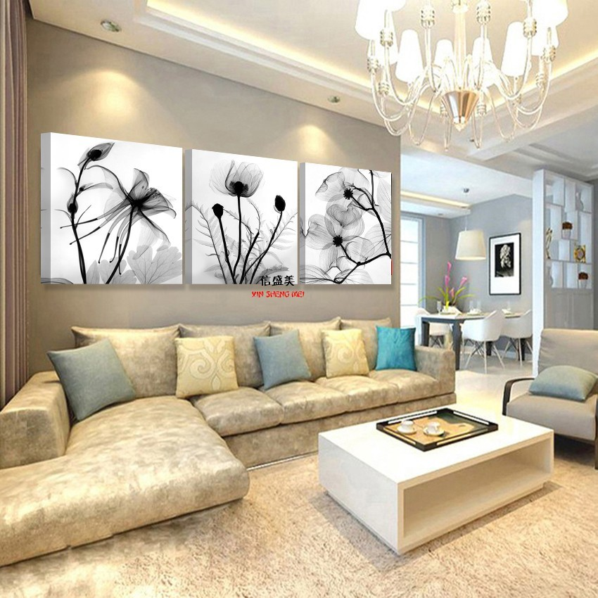 Modern Canvas Picture Oil Painting On Transparent Flower Wall Pictures For Living Room Decoration Paintings Art Print No Frame in Painting Calligraphy from Home Garden