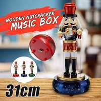 31cm Wood Nutcracker Soldier Toy Vintage Wooden Music Box Birthday Gift Gifts For Kids Christmas Decorations For Home Ornament