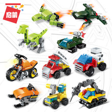 10Pcs/Set Engineering Vehicle Transformation Building Blocks Bricks Model Kids Toys For Children Educational Parent-Child Toys