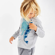 2019 childrens clothing T-shirt spring new boy girl dinosaur print cartoon long-sleeved shirt cotton Kids top