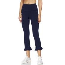 Seamless Yoga Pencil Pants Tights Women High Waist Sport Flared Leggings Slimming Ruffle Sport Leggings Women Workout Leggings high waist ruffle striped leggings
