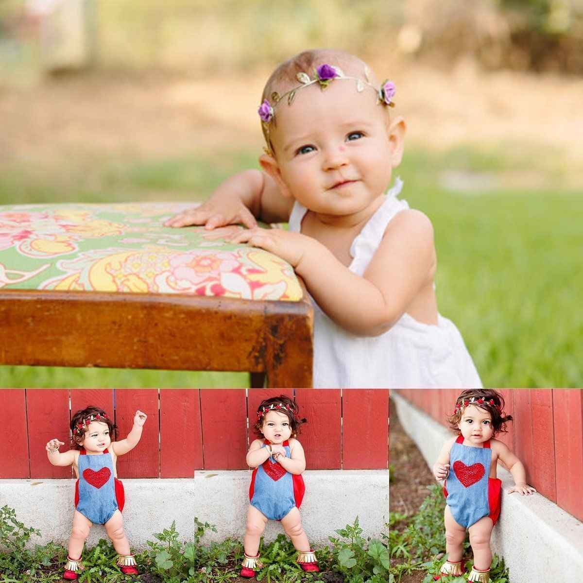 Kids Baby Girl Rose Crown Party Headband Garland Gold Leaf Hair Band Accessories
