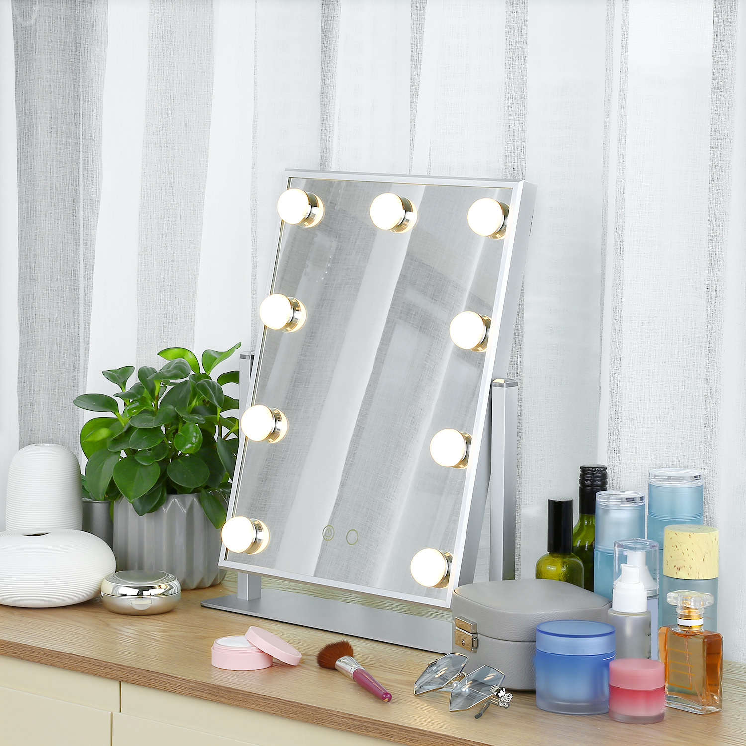 2019 New Lighted Vanity Makeup Mirror Tabletop Dimmable 9 ...