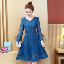 New Spring Summer V-neck Long Sleeve A-line Lace Solid Causal Knee-Length Dress Women Fashion Elegant Party Dresses Vestidos 2018 summer fashion solid simple style a line dress woman o neck short sleeve elegant empire knee length party dresses c1455
