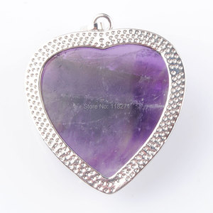 Image 4 - WOJIAER Natural Amethysts Jewelry Rose Flower Pendant Necklaces Leaf Real Love Heart Gem Jewellery for Girl PN3181