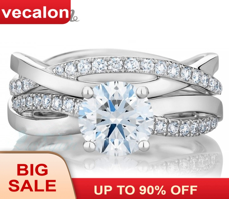 Vecalon 2016 fashion Engagement wedding ring Set for women 1ct AAAAA Zircon Cz 925 Sterling Silver Female Band ring R200