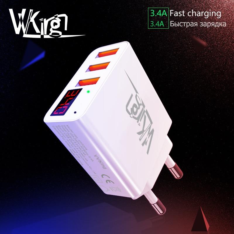 VVKing 3 USB Charger LED Display EU/US Plug For iPhone Samsung Xiaomi M