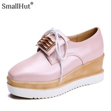 Women Platform Sneaker Spring Autumn Metal Decoration Casual Square Toe Pink White Blue Ladies Cross-tied Flat With Shoes E071