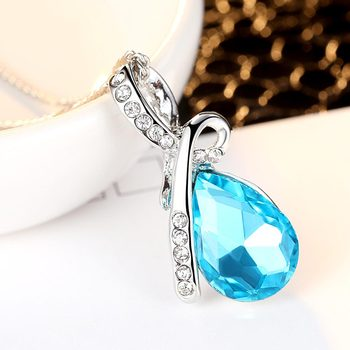 Luxury Necklace Fashion Jewelry 2 Colors Long Crystal Heart Pendant Necklace Chain For Women Love Necklaces & Pendants Collares 2