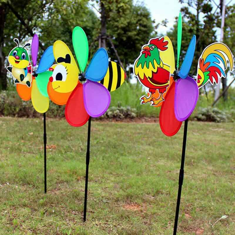 Plastic Windmolen Kleine Dier Stereo Zes Blad Patroon Wind Spinner Windmolens Tuin Gazon Party Decor Hot Speelgoed Mooie Voor Kinderen