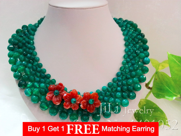 LiiJi Unique Natural Green Agates Facted beads&Carnelian Handmade Carving Flowers with jades Toggle Necklace 19''