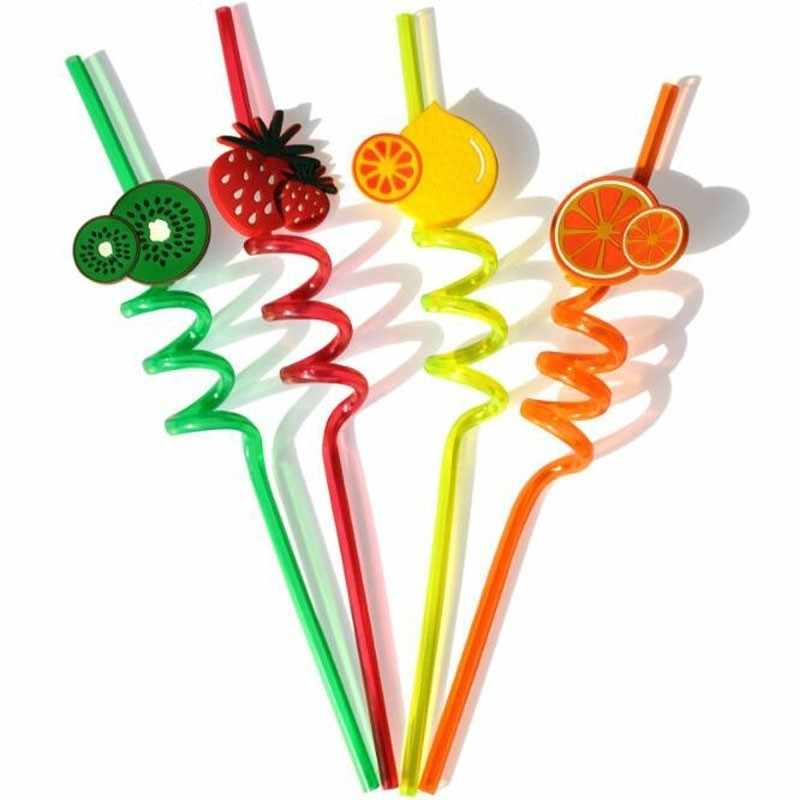 Disposable Environmental Plastic Drinking Straws Cute Silicone Fruit Decorating Cocktail Dancing Party Decoration Bar Supplies