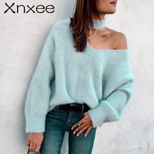 Xnxee Cold shoulder halter knitted sweater female Casual autumn winter sweater women knit Blue pullover jumper pull femme 2019 xnxee tassel knitted sweater women pullover loose casual army green winter sweater female o neck 2019 autumn jumper pull femme