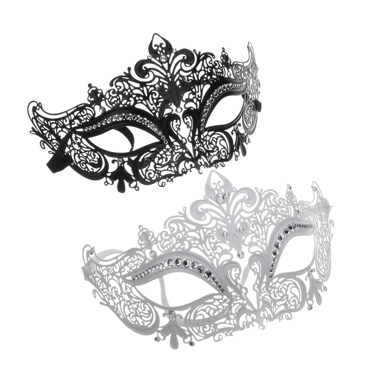 Clear Diamonte Filigree Chic Masquerade// Ball//Prom Venetian Silver Metal Mask #L