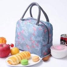 Сумка-холодильник с изображением животных фламинго, женская переносная Функциональная сумка-холодильник в полоску, Термосумка для еды и пикника, Детская сумка-холодильник для ланча, сумка-тоут