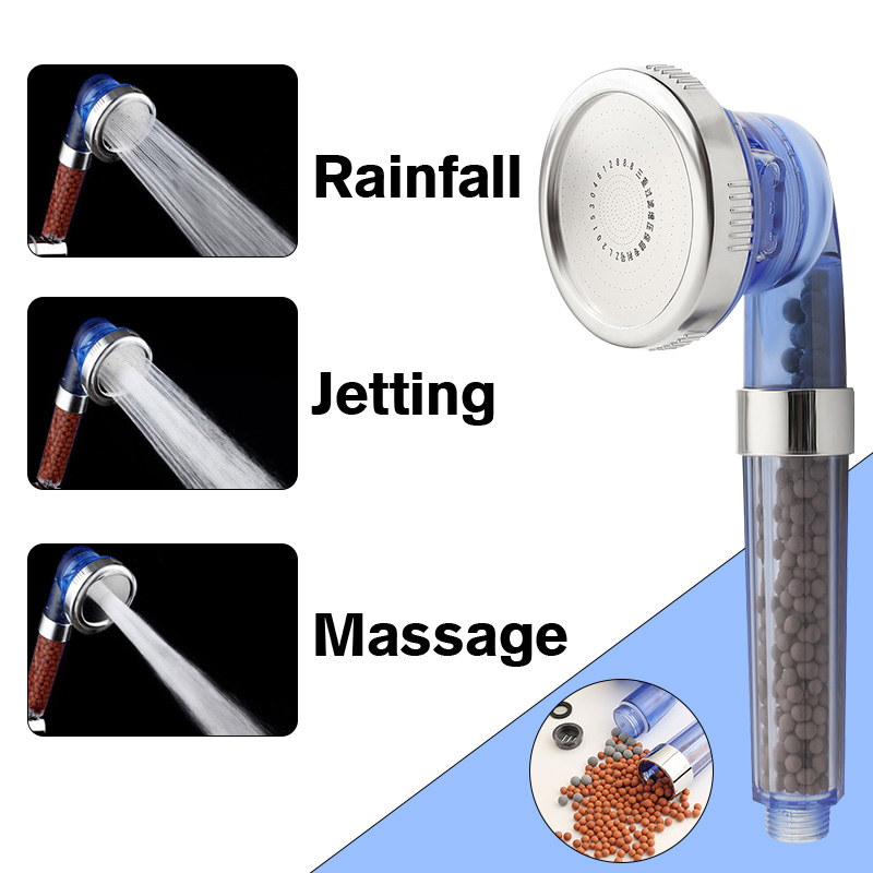 1Pcs Shower Head Filter Water Saving High Pressure Handheld Round Ion Spa Bath Three Mode Filtration Handheld Nozzle Sprinkler