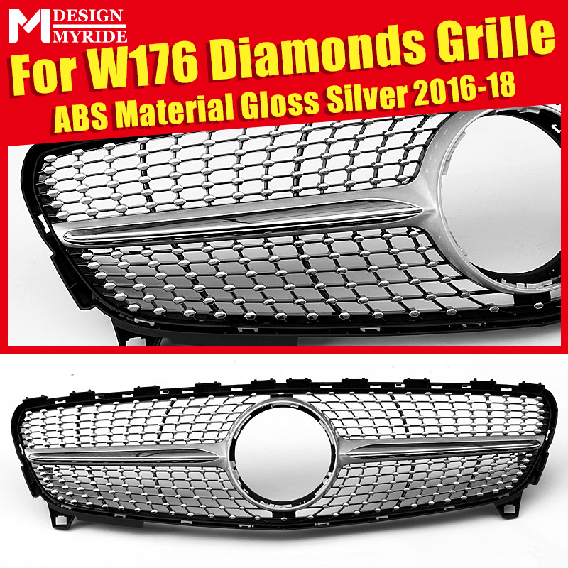 Fits For W176 Diamonds Grille Grill ABS silver Front Kidney Mesh A180 A200 A250 Bumper Grills Without Sign 2016-2018