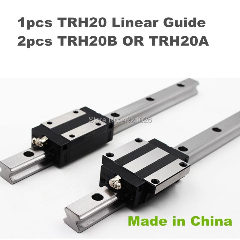 Precision rail 1pc TRH20 Square Linear guide Rail 500 to 1050mm  for CNC Router Milling Machine +2pcs TRH20B or TRH20A block