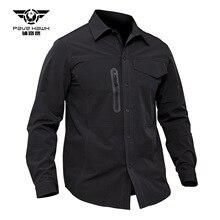 Весенне-осенняя мужская спортивная дышащая тонкая быстросохнущая Военная рубашка для походов и рыбалки, тренировочная тактическая рубашка с карманом с отворотом