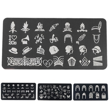 304 Stainless Steel Rectangle Nail Art Stamping Plate DIY Manicure Printing Image Template