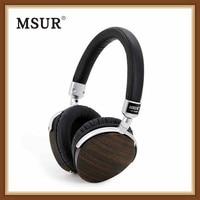 MSUR N350 Wooden Metal Headphone HIFI Lossless Portable Music Eardphone Headband Beryllium Alloy Leather Sport Headset