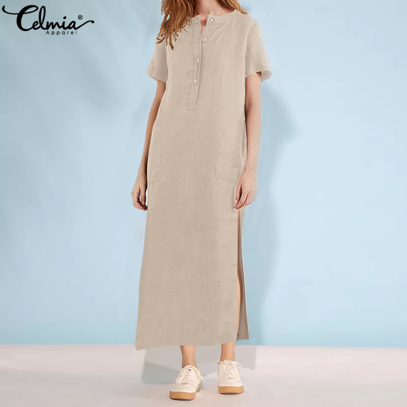 Women's Clothing Celmia Women Vintage Linen Dress 2019 Summer Long Maxi Sundress Plus Size 5xl Short Sleeve Casual Loose Split Vestido Robe Femme To Clear Out Annoyance And Quench Thirst