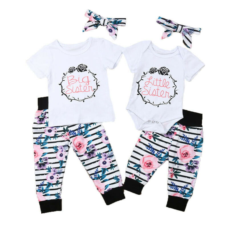 Cute Toddler Newborn Baby Kid Girls Clothes Set Little Sister Romper  Big Sister T Shirt  Pants Outfits