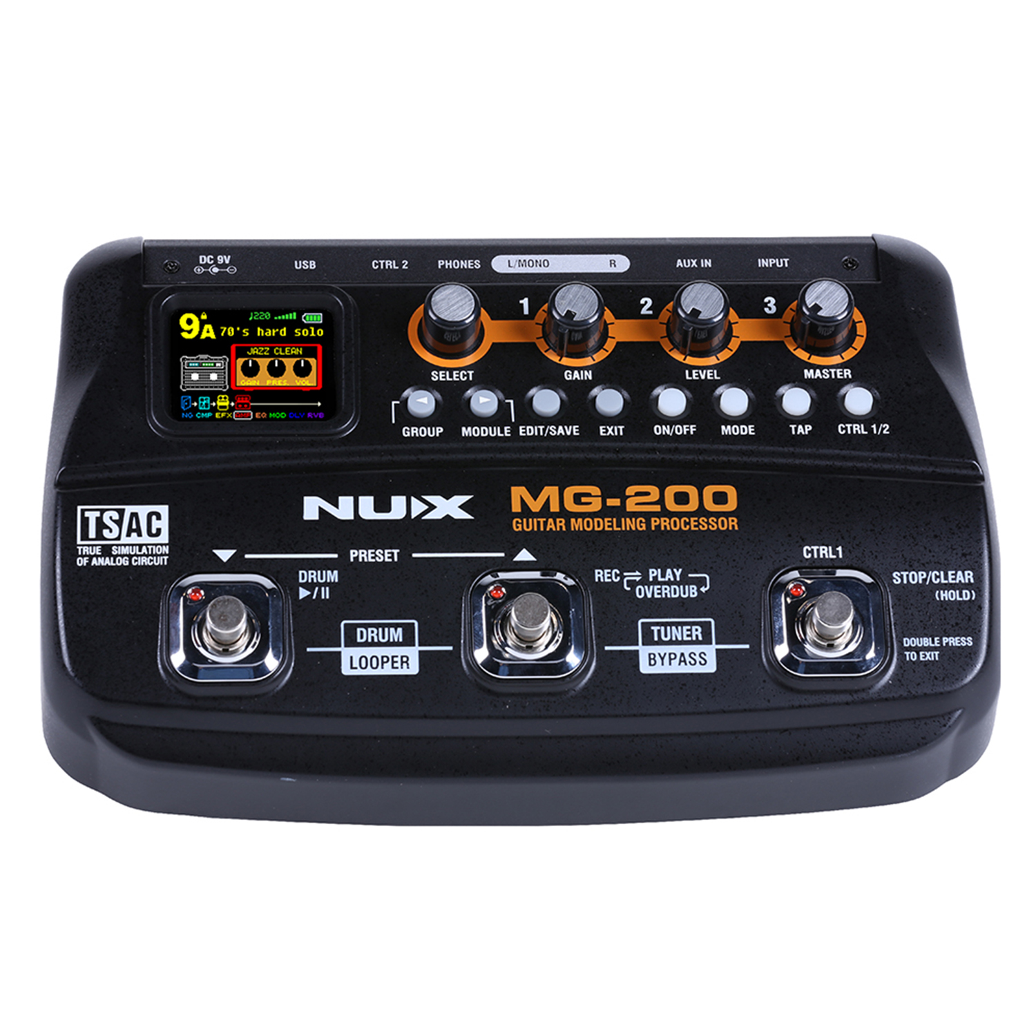 nux mg 200 guitar processor multi guitar effect pedal 55 effects 70 seconds recording guitar. Black Bedroom Furniture Sets. Home Design Ideas