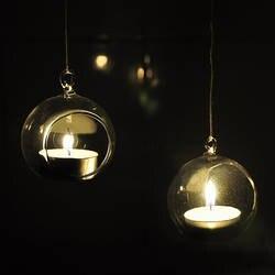 Behogar 4 шт висит стеклянный подсвечник для маленьких свечей держатели обета стеклянный террариум Home Decor Крытый Garden DIY подарки 6 см аксессуары
