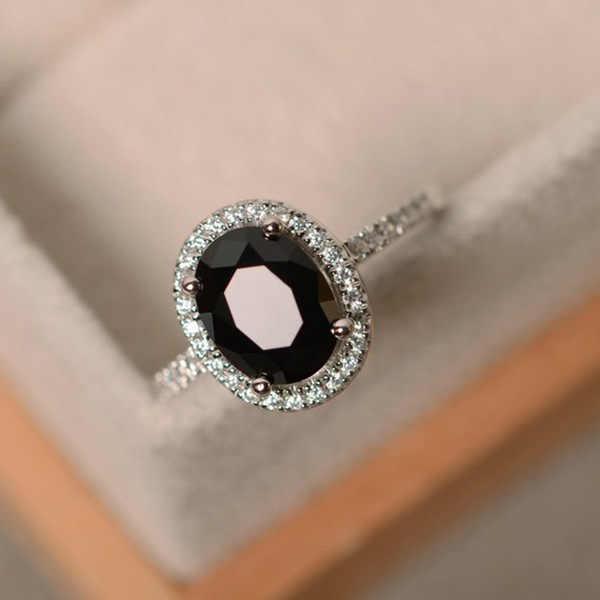 แบรนด์อินเทรนด์ CZ 925 แหวนเงินบิ๊กสแควร์สีฟ้าสีเขียวสีม่วงสีดำแหวนหินสำหรับผู้หญิงเครื่องประดับงานแต่งงานของขวัญแหวน