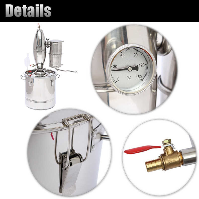 30L DIY Home Distiller Moonshine Alcohol Stainless Copper Water Wine Essential Oil Brewing Kit