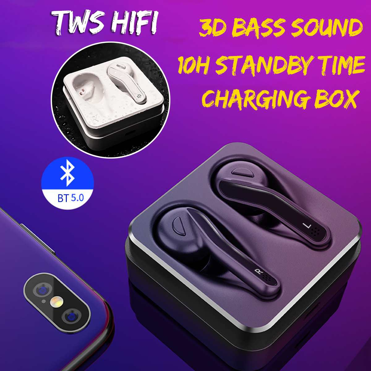 bluetooth 5.0 Headset <font><b>TWS</b></font> Wireless Earphone 3D Stereo Bass Sound Effect Waterproof Sports Twins Earbuds with Charging Box image