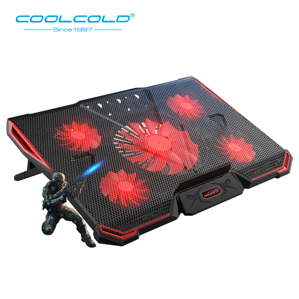 COOLCOLD Laptop Cooling Pad <font><b>2</b></font> USB <font><b>5</b></font> Fan Gaming Led Light Notebook Cooler For <font><b>12</b></font>-17inch Laptop Macbook image
